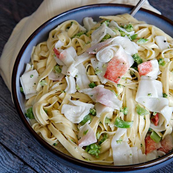 Fettuccine Alfredo with Broccoli and Crab Recipe