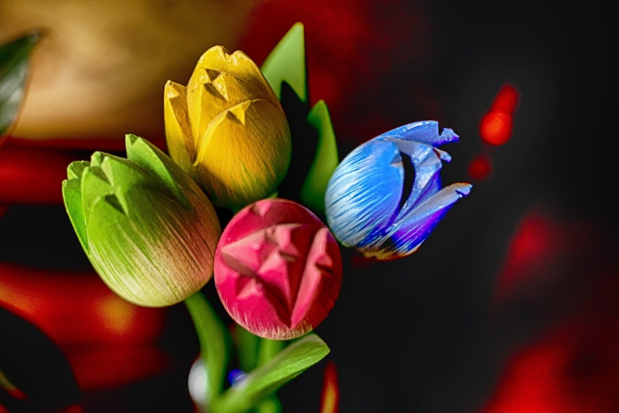 Flowers in wood by Pravine Chester - Artistic Objects Still Life ( decoration, wooden tulips, artistic objects, wooden artifact, photography,  )