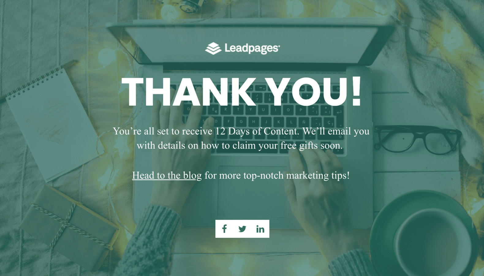 Leadpages sample thank you page