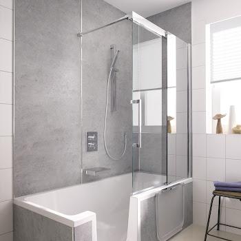 Duschkabinen_04 K2P Badewannenaufsatz Gleittür, 2-teilig