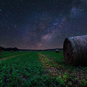The Further  by Chris Timmerman - Landscapes Starscapes ( field, stars, hay, agriculture, night, nebraska, milky way,  )