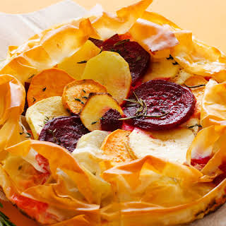 Savory Apple Tart with Flaky Phyllo Crust.