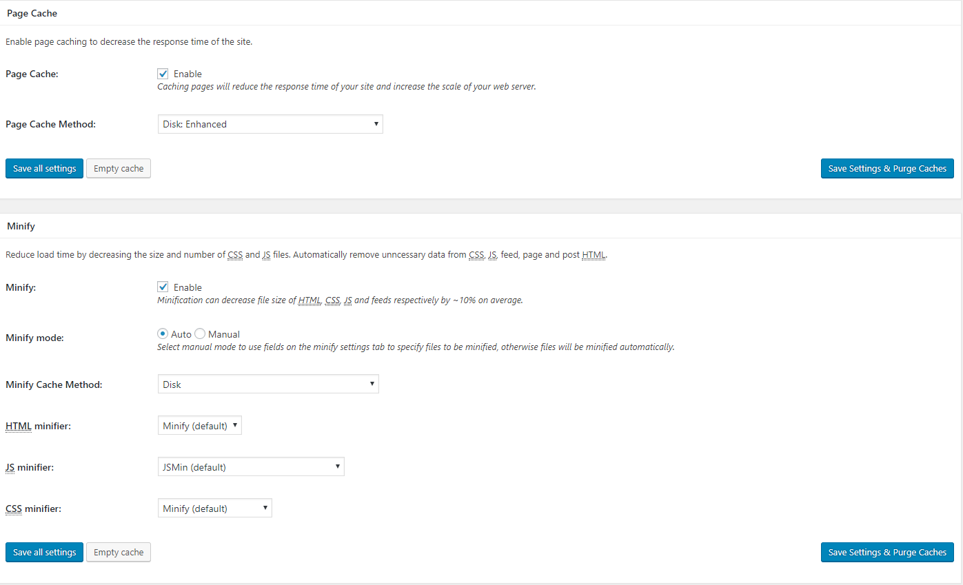 Recommended Minify and Page Cache Settings For W3 Total Cache