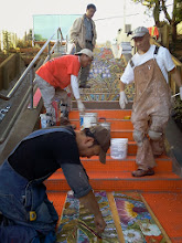 Photo: Third full day of work (October 29, 2013) with KZ Tile workers (Kai, Sing, Henry, and Ton) installing the first sections of the Hidden Garden Steps (16th Avenue, between Kirkham and Lawton streets in San Francisco's Inner Sunset District) 148-step ceramic-tile mosaic designed and created by project artists Aileen Barr and Colette Crutcher. For more information about this volunteer-driven community-based project supported by the San Francisco Parks Alliance, the San Francisco Department of Public Works Street Parks Program, and hundreds of individual donors, please visit our website at http://hiddengardensteps.org.