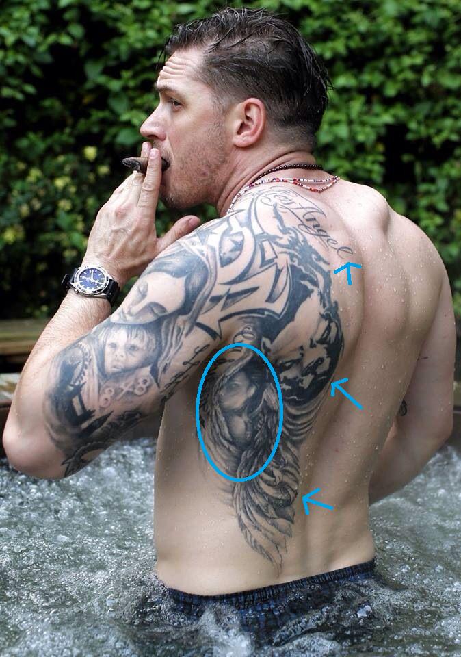 Tom Hardy's Back Tattoos