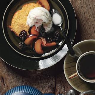 Orange Polenta Cake with Vanilla-Scented Plums and Blackberries and Buttermilk Ice Cream Recipe