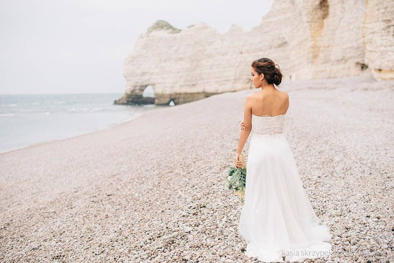 Nautical seaglass & driftwood wedding shoot in Etretat - Normandy