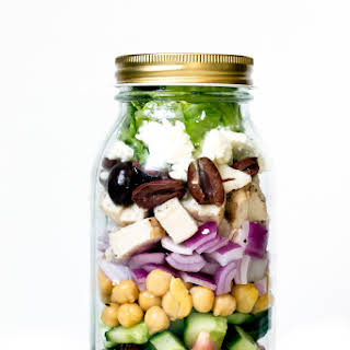 Four Mason Jar Salads.