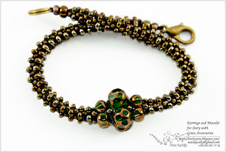 Photo: Earring and Bracelet for Story with Green Aventurine - Сережки і браслет для прикраси з зеленим авантюрином