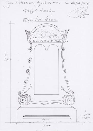 Dessin de face du projet de tombe personnalisée sculptée en pierre