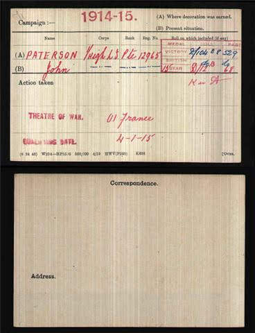 John Paterson's Medal Index Card