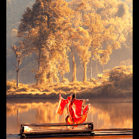 Dancing Under the Morning Sun by Aditya Kristanto - Digital Art People ( water, dancing, red, ship, lady, lake, sun )