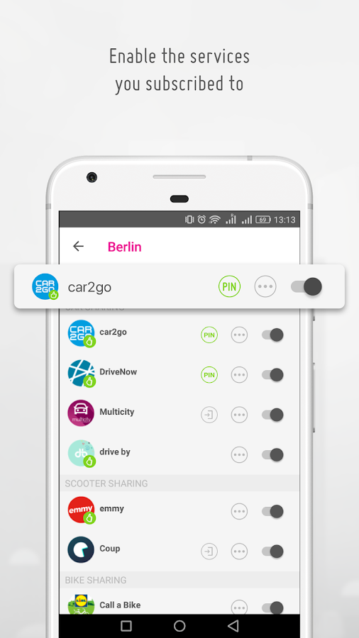urbi - carsharing and mobility aggregator- screenshot