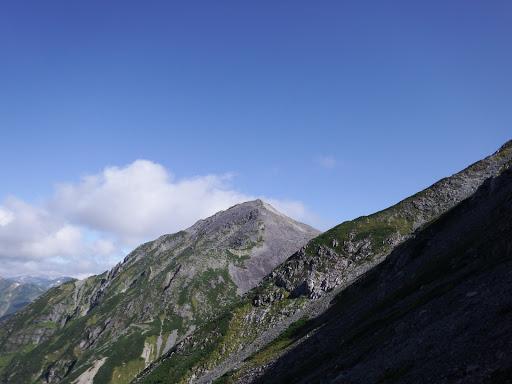 中岳を見上げる