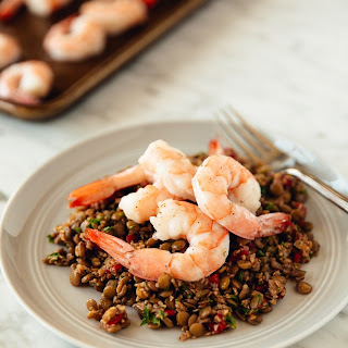 Warm Bulgur and Lentil Salad with Roasted Shrimp.