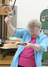 Photo: Here Margaret uses her virtual drill press to show how NOT to do it...