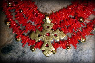 Photo: #168 AND GOD SIGHED ~ ЗІТХАННЯ БОГА  Brass cross pendant, coral, brass ... , gold plate, 14K gold vermeil  $240/set SOLD