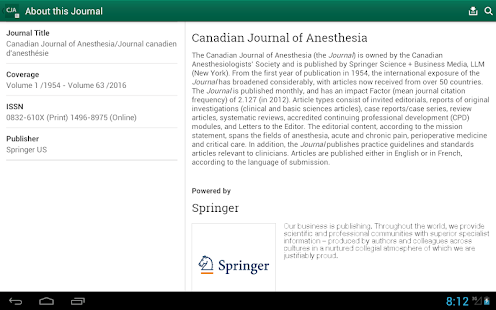 Canadian Journal of Anesthesia- screenshot thumbnail