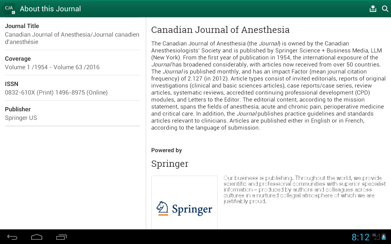 Canadian Journal of Anesthesia- screenshot