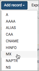 MX is selected from the Add record drop-down list.