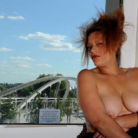 by DJ Cockburn - Nudes & Boudoir Artistic Nude ( footbridge, england, woman, mixed race, london, britain, art nude, home shoot, white horse bridge, wembley stadium station, portrait, building, miss v, wembley, off camera flash, white sheer, fabric, punk, uk, model )