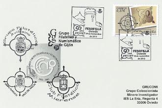 Photo: Tarjeta del matasellos de FESOFILLA, 50 años de FESOFI en Asturias, Exposición en el Archivo Histórico de Asturias, Oviedo 2013