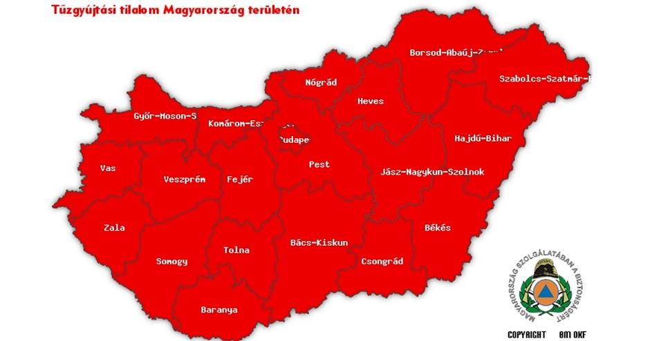 Tűzgyújtási tilalom térkép 2017 március