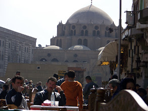 Photo: We ate in this area, with that big mosque looking over the crowds.