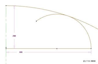 Photo: 1/2 anse de panier contraint en hauteur et en largeur par deux cercle tangents: