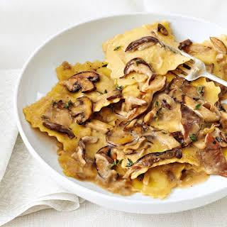 Mushroom Ravioli in Rich Herb Sauce.