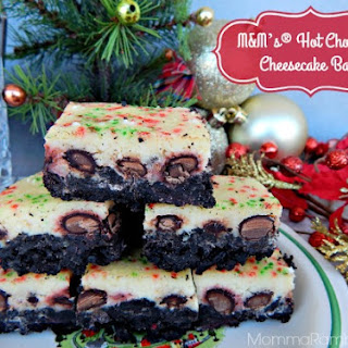 M&M's® Hot Chocolate Cheesecake Bars #Recipe ~ #BakeInTheFun #CollectiveBias #Ad