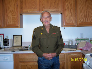 Photo: MURRAY TEILHABER 2006 (age 90 and 49 weeks) wearing the Ike jacket he was issued in World War II.