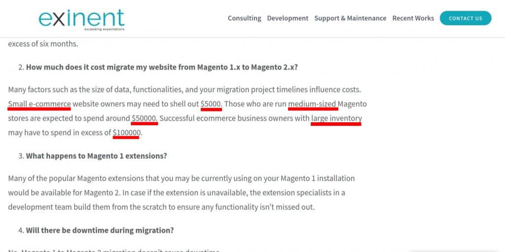 Kosten für einen Wechsel zu Magento 2