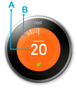 Nest thermostat heating current target temperature