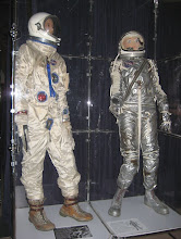 Photo: L to R: Gemini and Mercury space suits