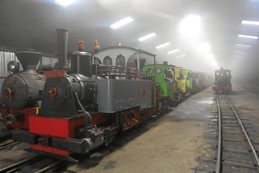 Loco Josefina and some of her narrow-gauge friends in the Sandstone sheds. Picture: LUKE ALFREDS