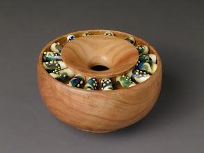 Photo: Beads and Cherry Bowl David Lutrick, turner Lara Lutrick, beadmaker