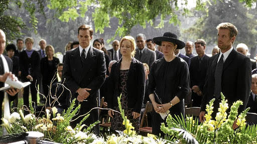 In the American TV series 'Six Feet Under' a widow is forced to run a funeral home when her husband dies. Picture: YOUTUBE