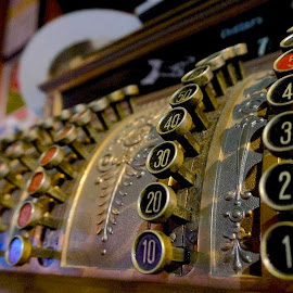 Cashing In by Barbara Brock - Artistic Objects Antiques ( numbers, cash register, business machine, money machine )