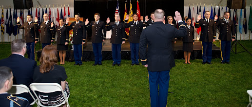 Photo: LTC Soldato swears in our newest Lieutenants.
