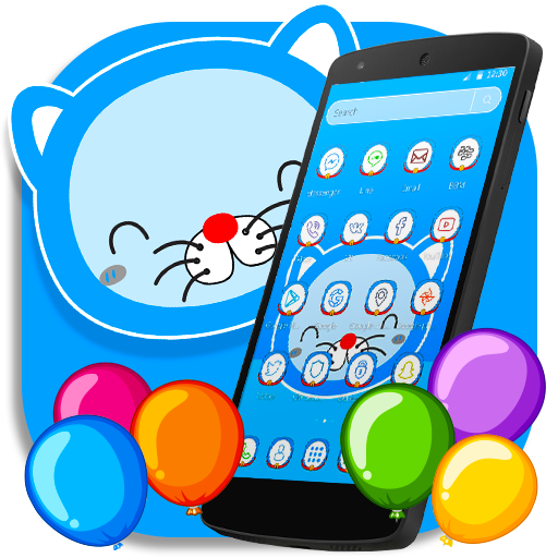 Blue Cat Cartoon launcher Theme file APK for Gaming PC/PS3/PS4 Smart TV