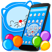 Blue Cat Cartoon launcher Theme