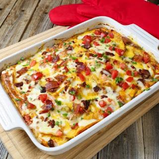 Mexican Lasagna Breakfast Casserole.
