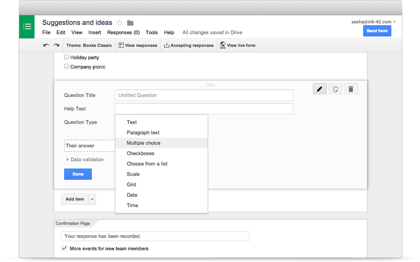 Google Forms – Easy to create surveys and forms for everyone