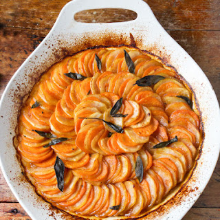 Russet and Sweet Potato Tian with Brown Butter, Apple Cider Syrup, and Sage