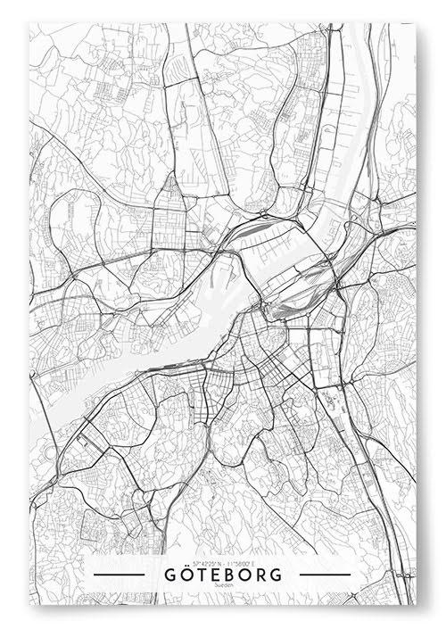 Poster Göteborg Karta Svartvit