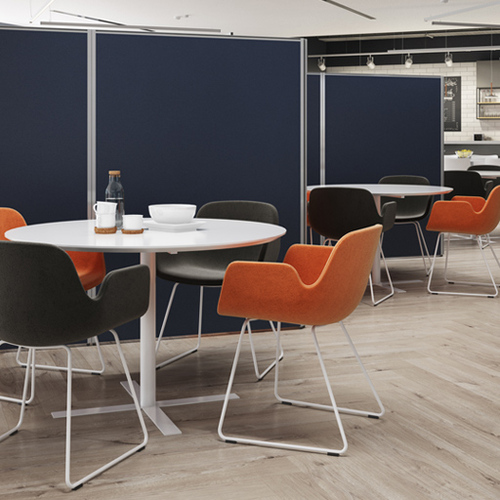 Sail Blue Protect Vinyl Office Partition Screens, in a cafeteria, separating white tables