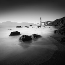 """Photo: """"Marshall's Beach"""" - http://www.createwithlightphotography.com  This is a 30 second exposure of Marshall's Beach in San Francisco, looking towards the very famous Golden Gate Bridge.  I was in San Francisco for a conference in early May and had the opportunity to spend another wonderful evening with my good friends, +Nathan Wirth , +Steve-Maxx landeros , +Ivan Makarov , +Joe Azure and my new friends +Jim Patterson and +kendra karr . Thank you again to you all for being such wonderful hosts and company, I can't begin to tell you all how much I appreciated it. I'm really hoping to get back to San Fran towards the end of August this year, so fingers crossed. OMG, how I miss that place!!!  This was the first time I was able to get down to Marshall's Beach without monster waves trying to sweep me away. :-) There wasn't a cloud in the sky, but that didn't stop me from getting creative with my graduated filters to work the tonal angles.  The techie Stuff:  ISO: 200 Aperture: f/7.1 Exposure: 30 seconds Focal Length: 16mm Filters: Hitech Pro 10 stop ND filter, Lee 3 stop soft grad ND filter  This is my contribution to the #LongExposureThursday theme, kindly curated by +Francesco Gola and +Le Quoc , the #ThirstyThursday theme, kindly curated by +Giuseppe Basile and +Mark Esguerra , the #FineArtPls theme, curated by the lovely +Marina Chen and +Fineao Fang , the #BWFineArtLE theme, curated by the amazing Mr +Joel Tjintjelaar and +Black and White Fine Art Photography Gallery , #SquaresAreSassy curated by my dear friend, +Nathan Wirth...sorry +Athena Carey , but they really are :-) , my awesome muse, friend and supporter +dene' miles and finally the #PlusPhotoExtract theme, run by the awesome +Jarek Klimek  All thoughts and comments welcome.  Please visit my website to view more of my images: http://www.createwithlightphotography.com  #PlusPhotoExtract #GrantMurray #GrantMurrayPhotography #BWFineArtLE #FineArtPls"""