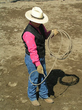Photo: Building a loop with your lariat is an important skill. I use a 45ft or 60ft. xxx soft nylon or poly rope, with a metal hondo. You can order these thru T&T Horsemanship. Begin by sliding the metal hondo up the lariat towards your coils.