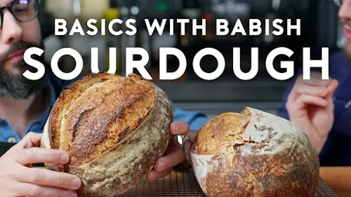 "Video thumbnail image shows creator holding a loaf of bread below text reading ""Binging With Babish Sourdough"""